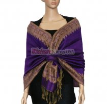 Jacquard Border Scarf Purple